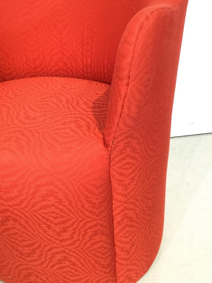 Set (7) Modernist red upholstered barrel chairs - 6