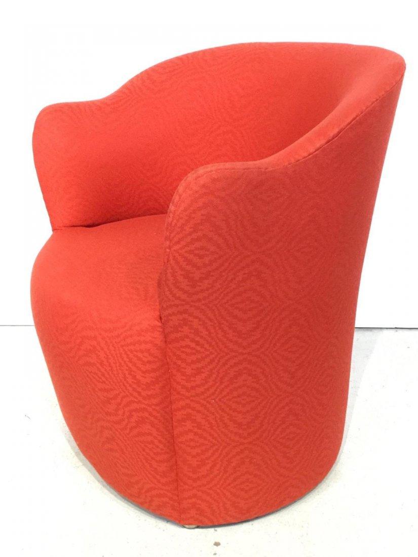 Set (7) Modernist red upholstered barrel chairs - 9