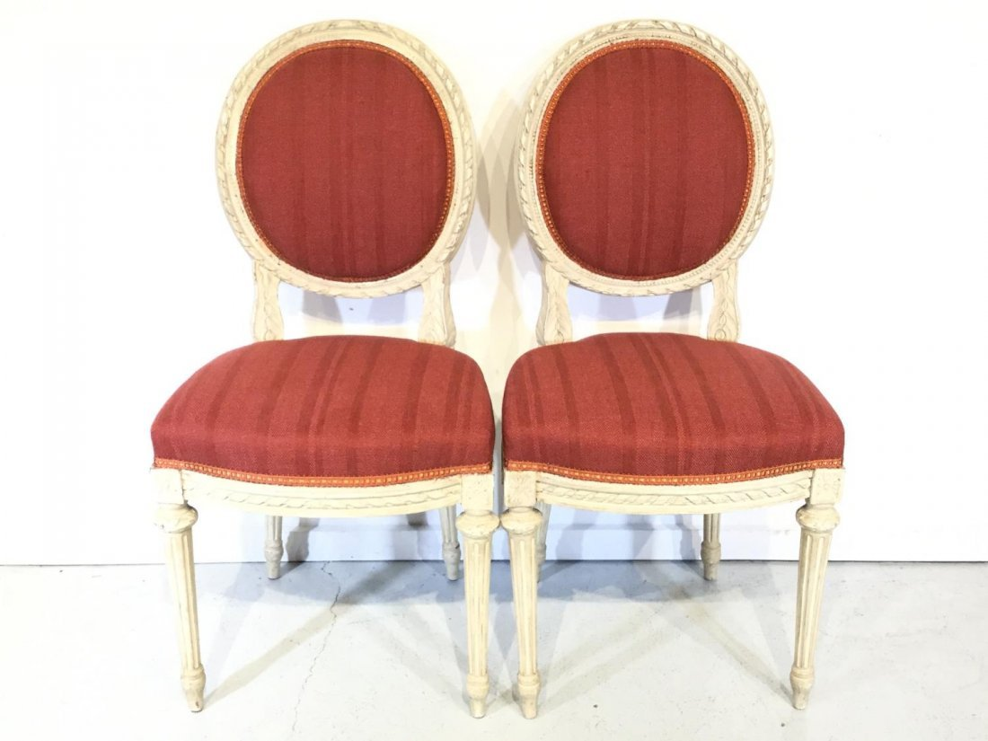 Pair Louis XVI style white painted side chairs