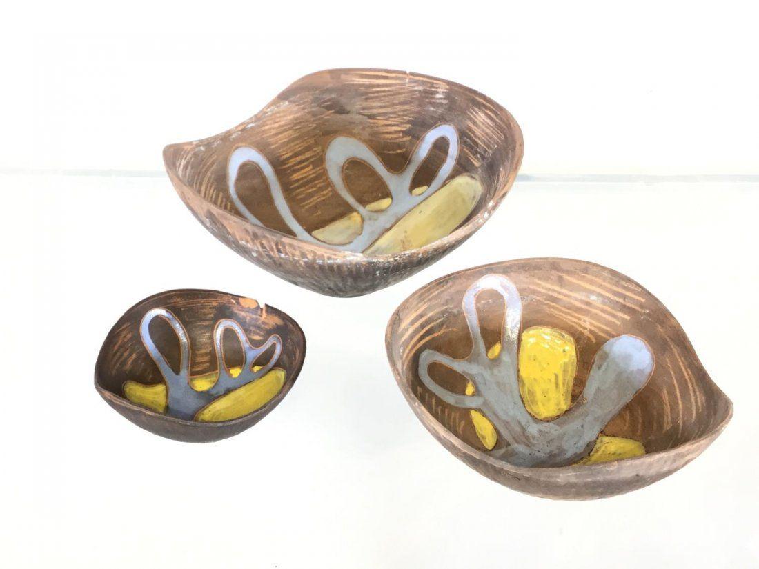 Set (3) Raymor ceramic nesting bowls