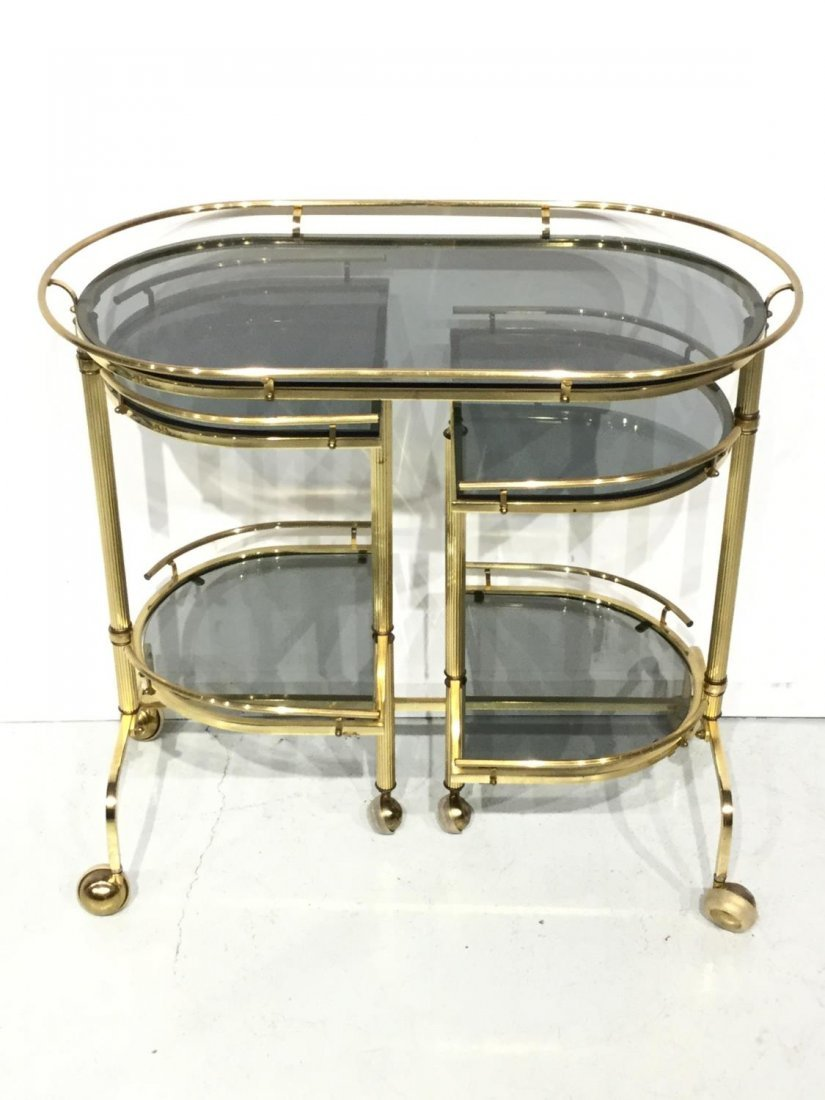 Vintage brass and smoked glass bar trolley