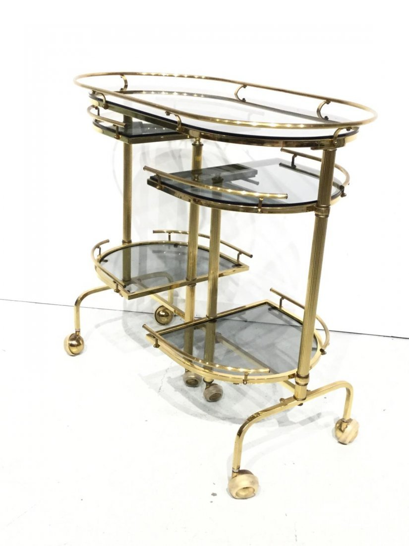 Vintage brass and smoked glass bar trolley - 2
