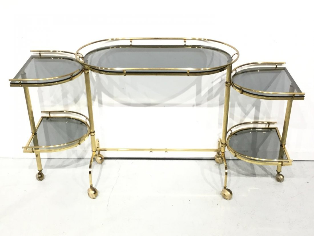 Vintage brass and smoked glass bar trolley - 3