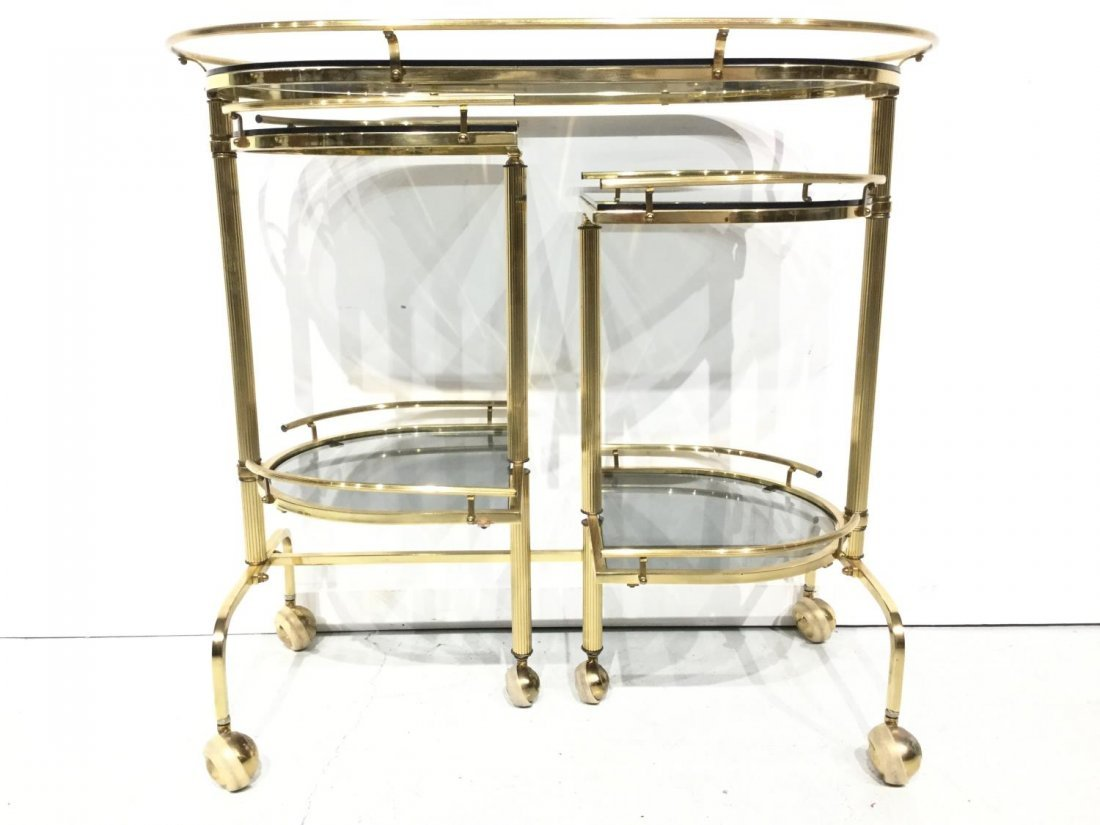 Vintage brass and smoked glass bar trolley - 6
