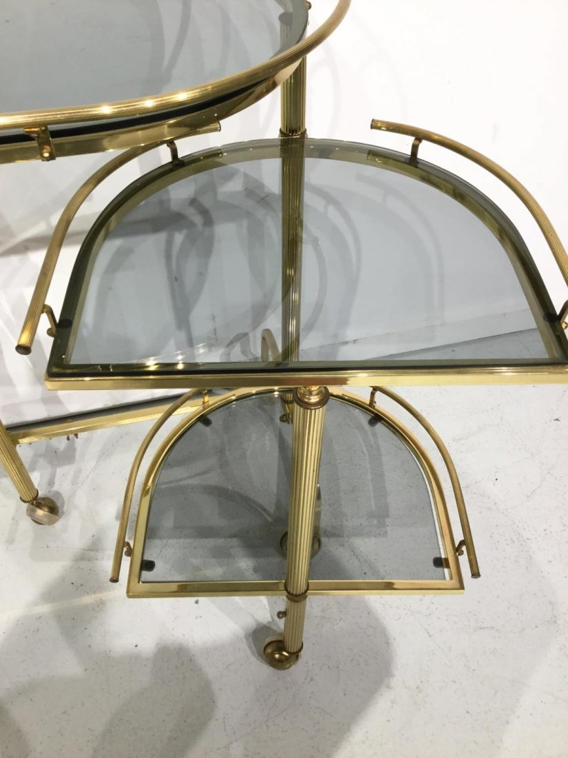 Vintage brass and smoked glass bar trolley - 7