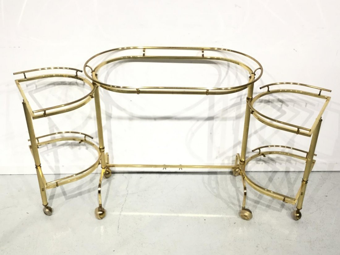 Vintage brass and smoked glass bar trolley - 8