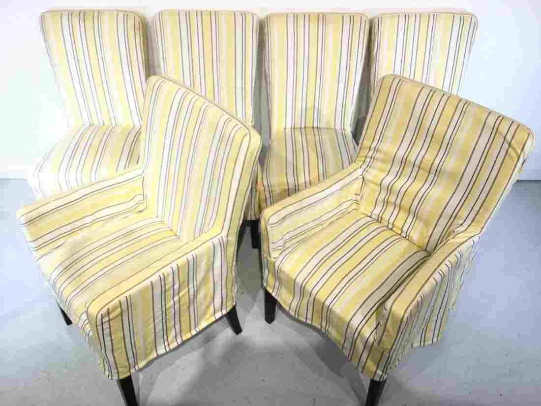 Set (6) decorator slip-covered dining chairs
