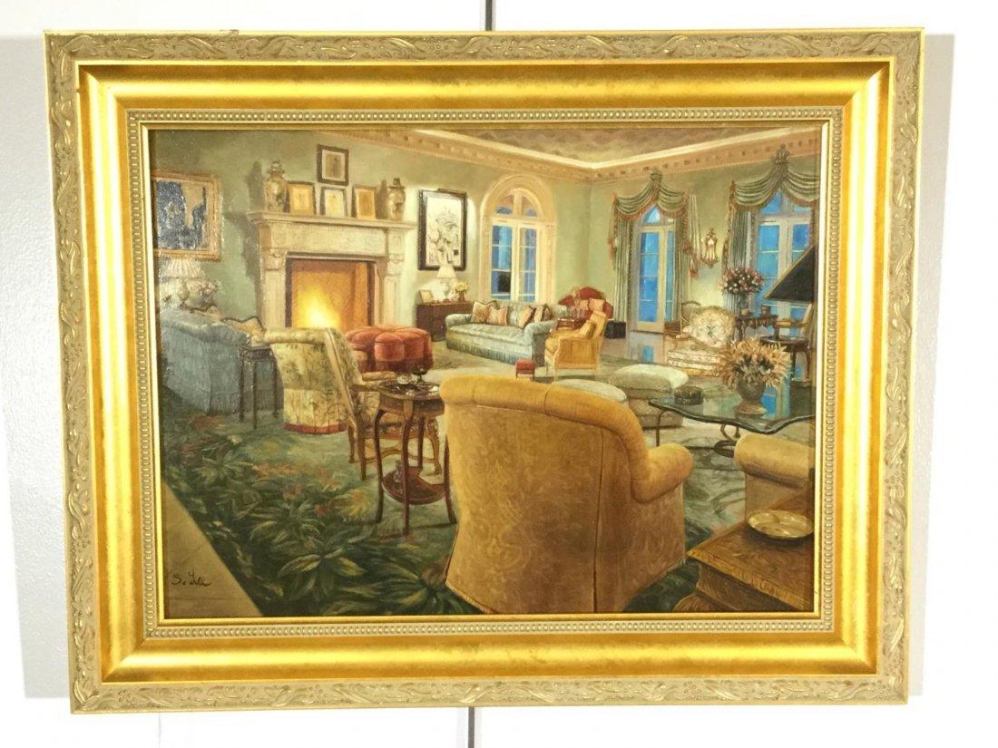S. Lee (20th c.), interior design painting