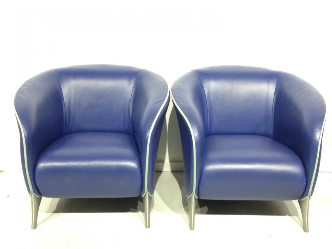 Pair Brayton electric blue leather tub chairs