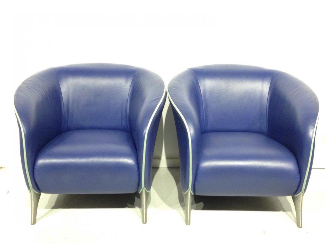 Pair Brayton electric blue leather tub chairs