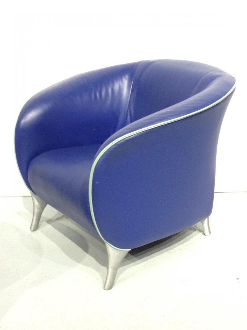 Pair Brayton electric blue leather tub chairs - 2