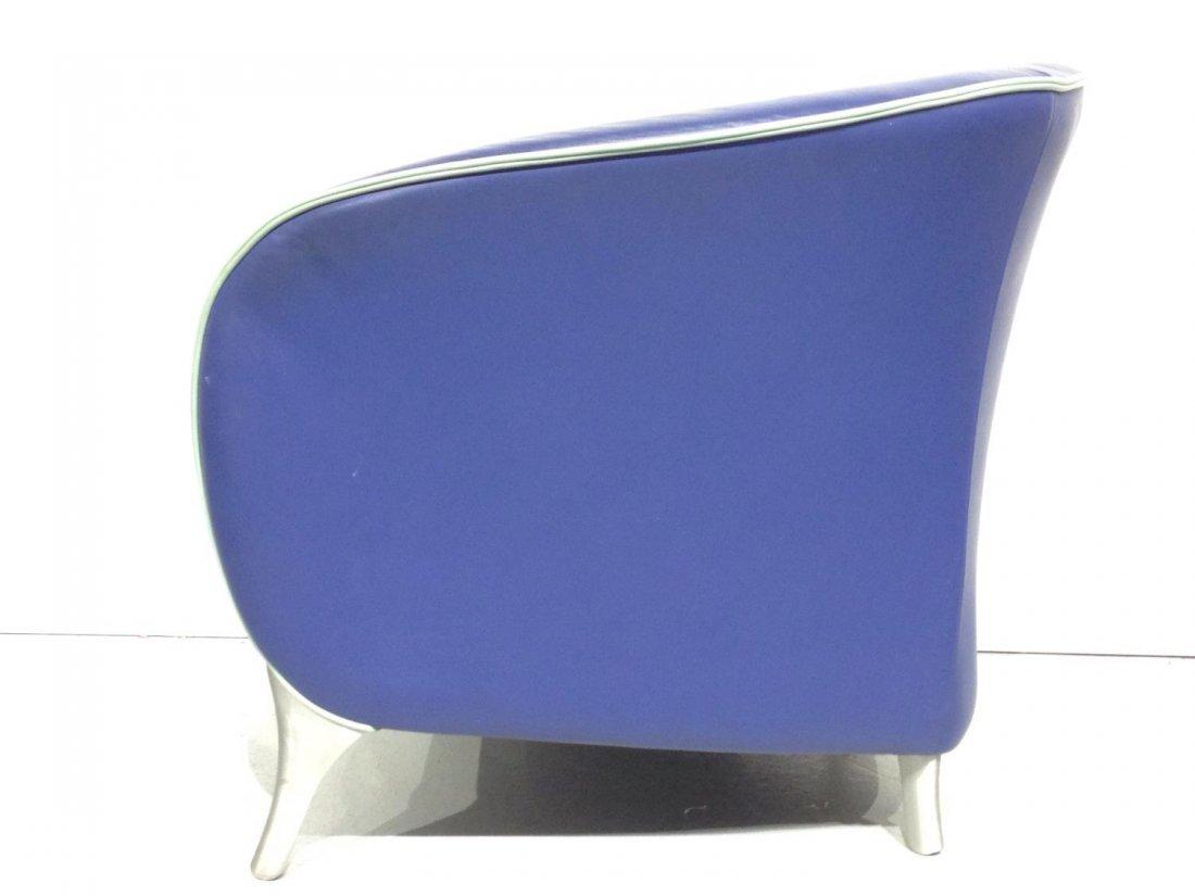 Pair Brayton electric blue leather tub chairs - 3