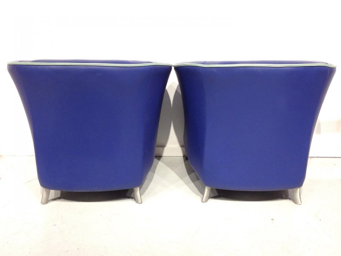 Pair Brayton electric blue leather tub chairs - 5
