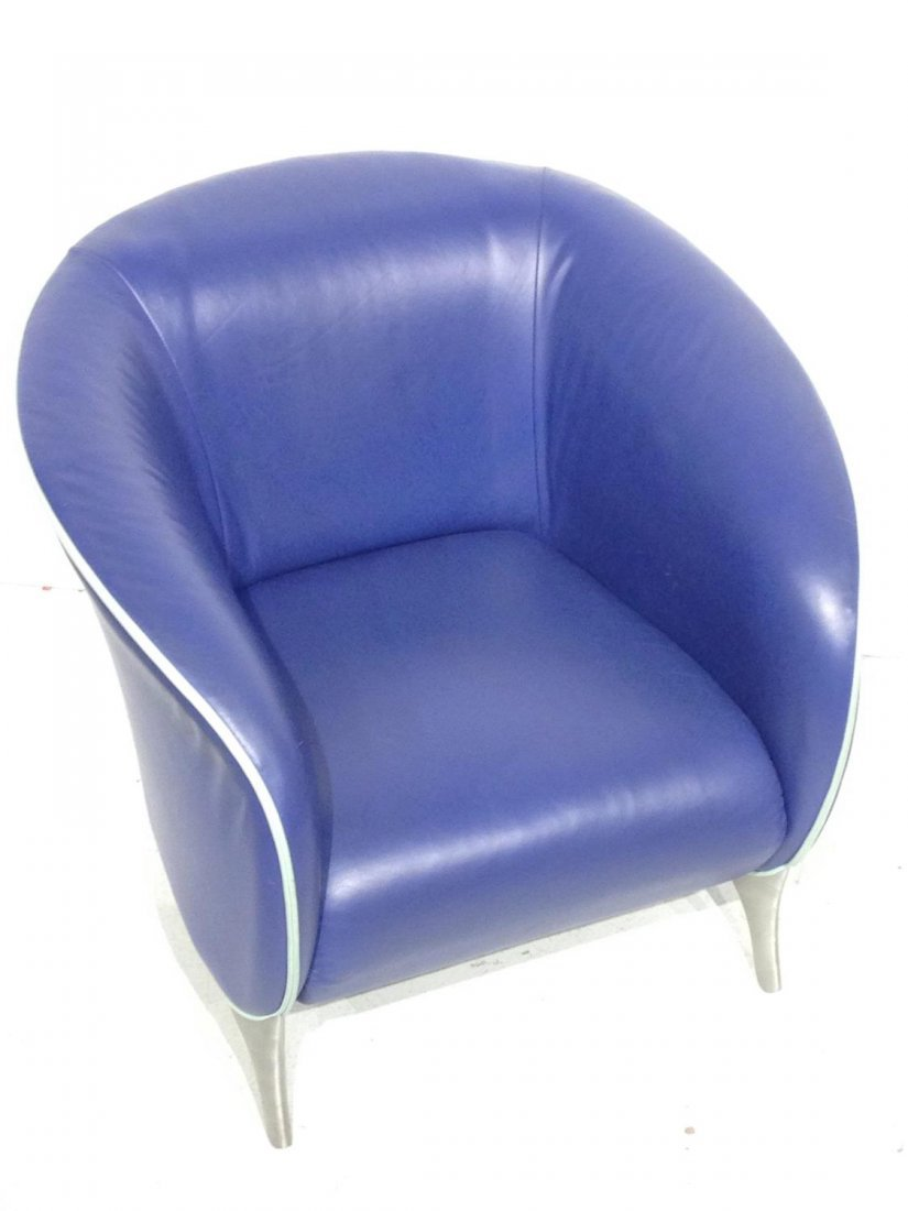Pair Brayton electric blue leather tub chairs - 6