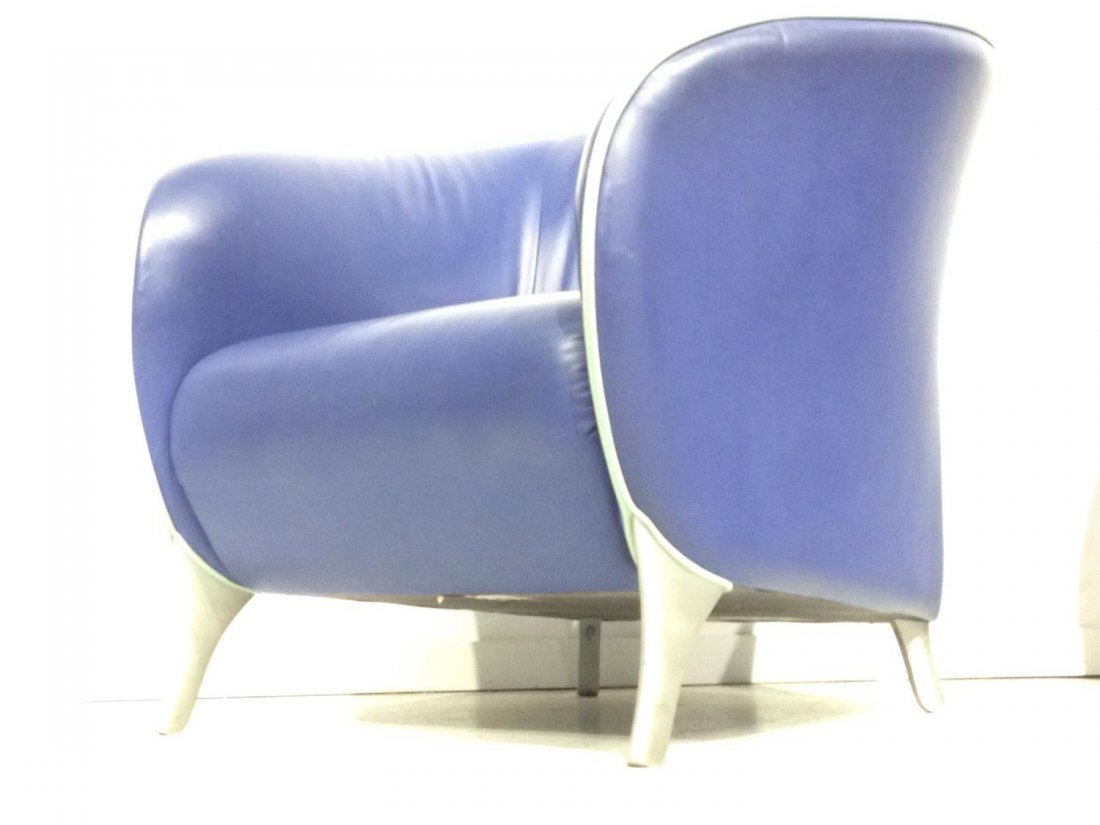 Pair Brayton electric blue leather tub chairs - 9