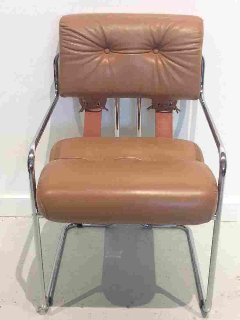 "Guido Faleschini leather, chrome ""Tucroma"" chair"