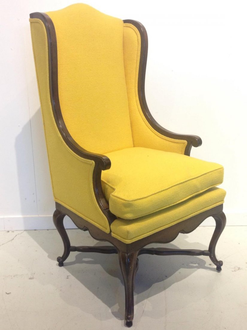 Vintage Frenchy tall back wing chair - 2