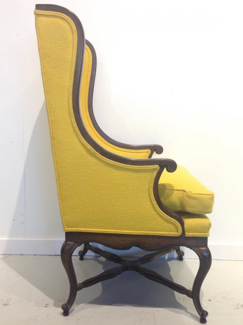 Vintage Frenchy tall back wing chair - 3