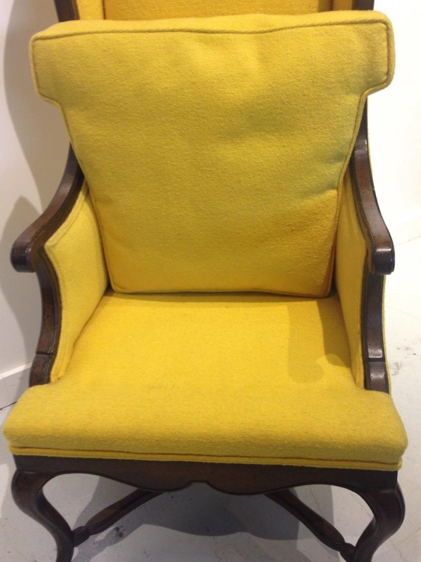 Vintage Frenchy tall back wing chair - 7