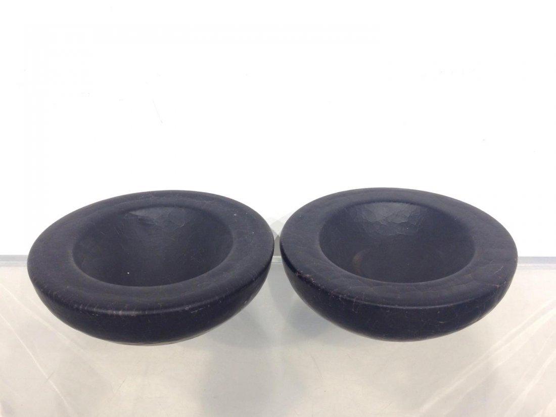 Pair signed Murano Modern black glass bowls