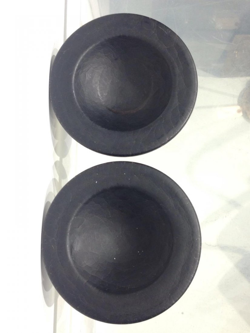 Pair signed Murano Modern black glass bowls - 2