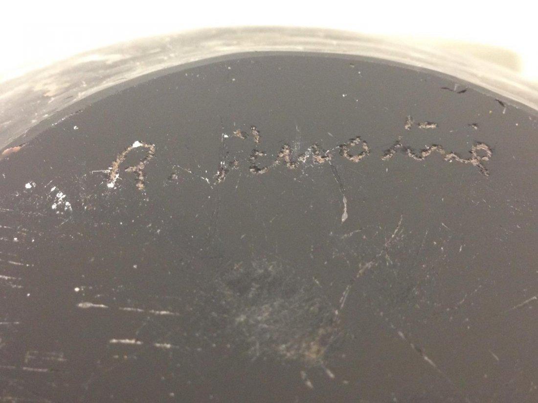 Pair signed Murano Modern black glass bowls - 5