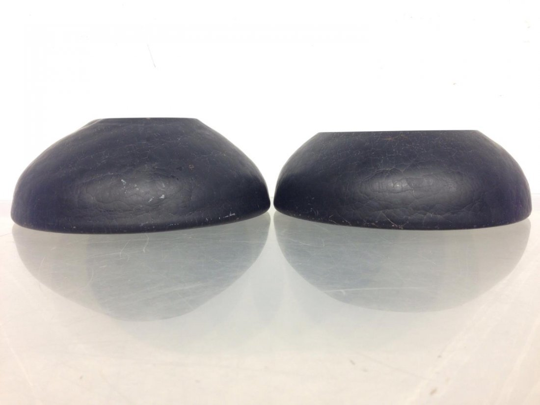Pair signed Murano Modern black glass bowls - 8