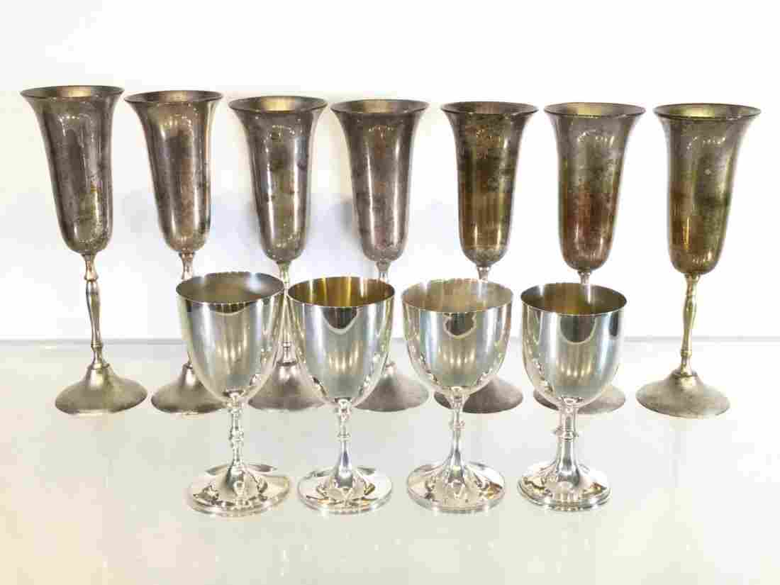 (11) English and American silver plated stem cups