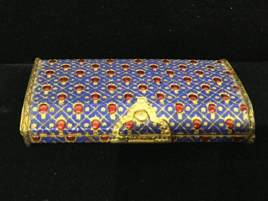 Italian engraved gilt metal and enamel jeweled box