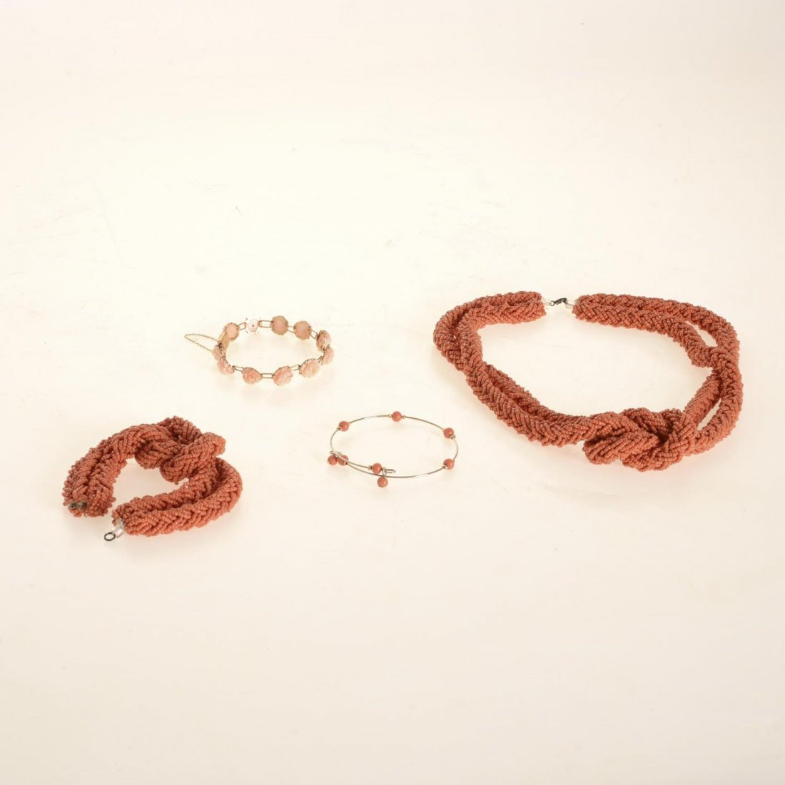 (4) pcs. Antique coral jewelry