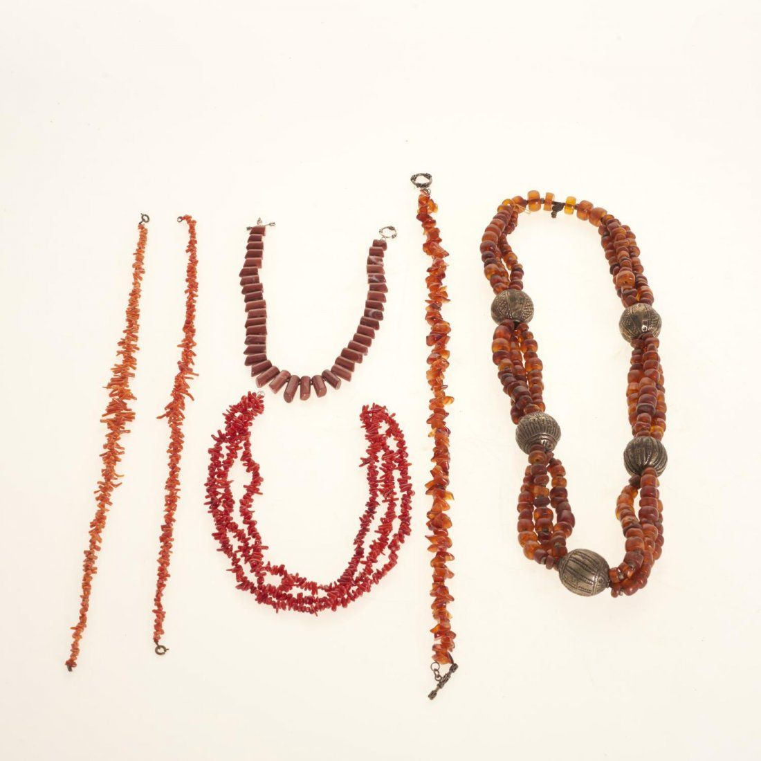 Coral and amber bead necklaces