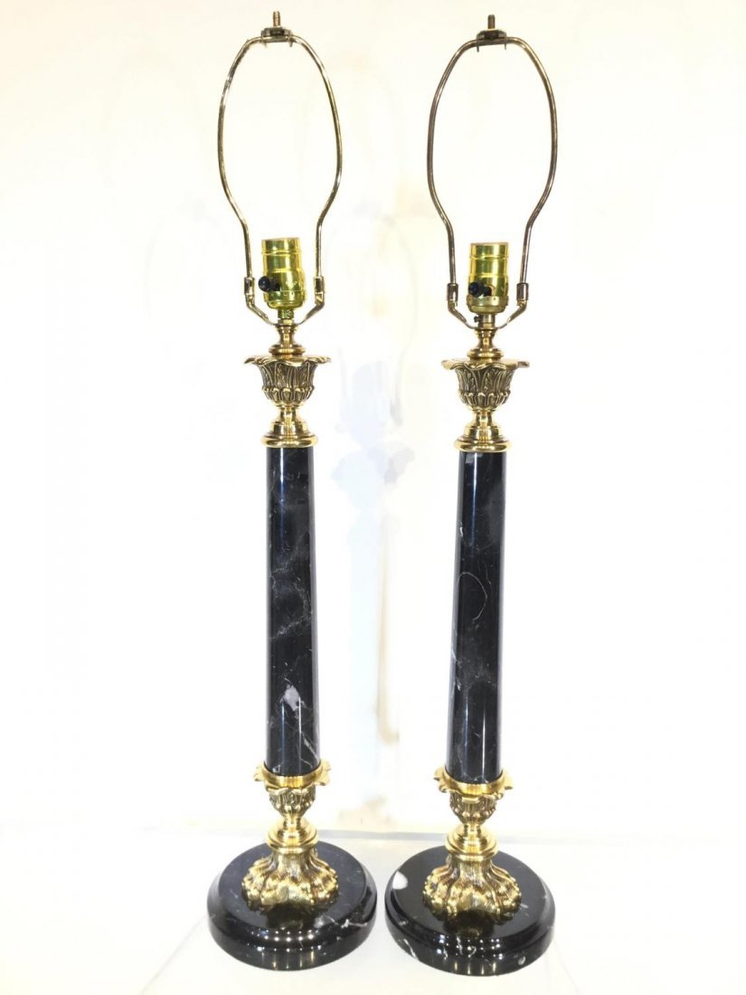 Pair marble, brass column table lamps