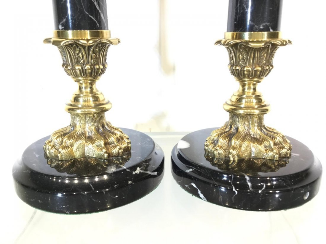 Pair marble, brass column table lamps - 2