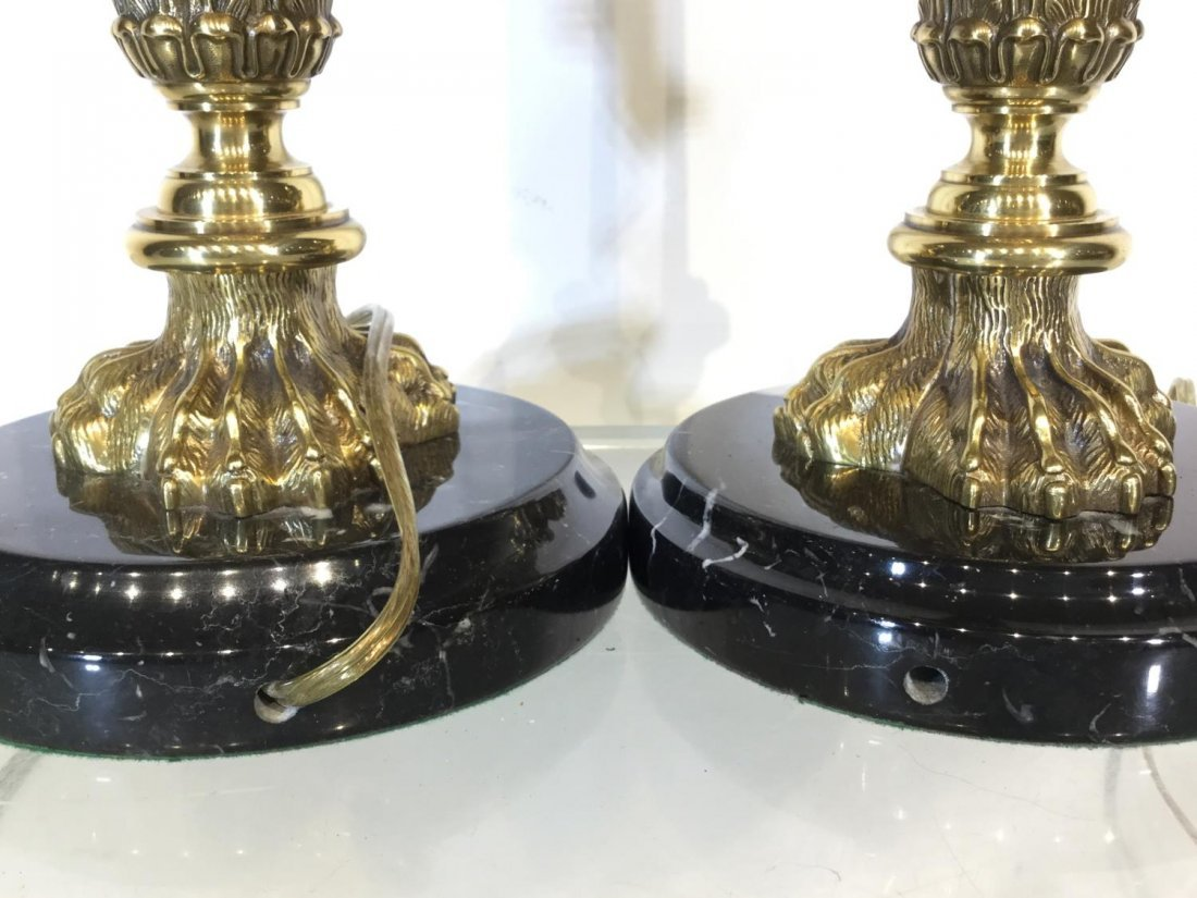 Pair marble, brass column table lamps - 4