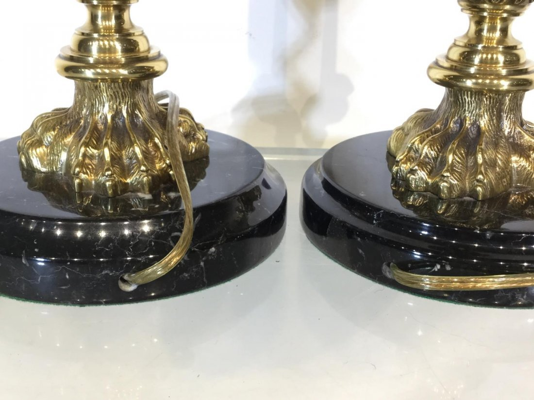 Pair marble, brass column table lamps - 5