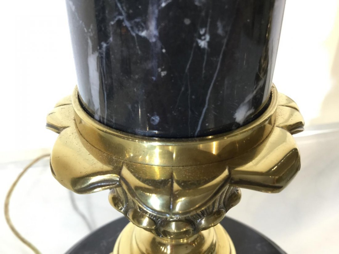 Pair marble, brass column table lamps - 8