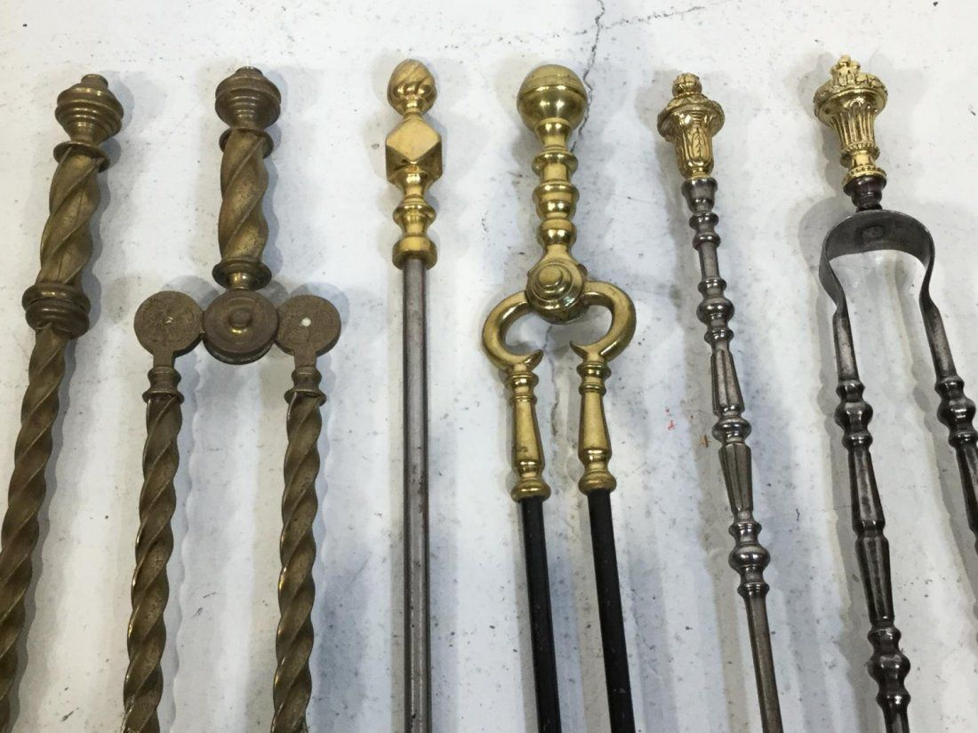 (3) Sets antique brass/steel fire tools