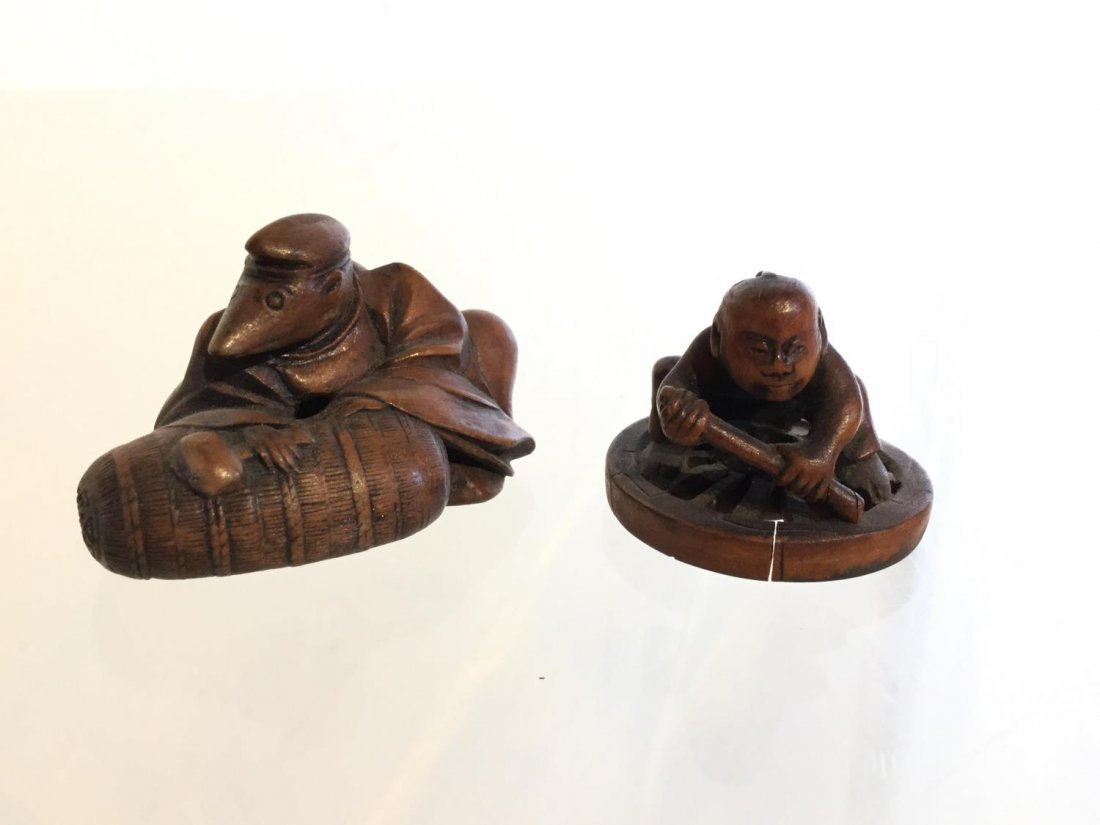 Group Japanese carved wood accessories - 8
