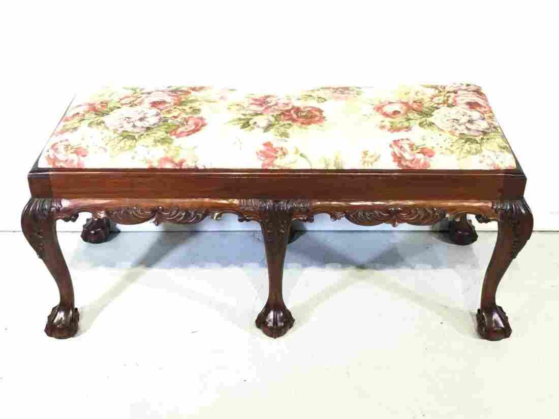 Chippendale style mahogany 6-legged bench