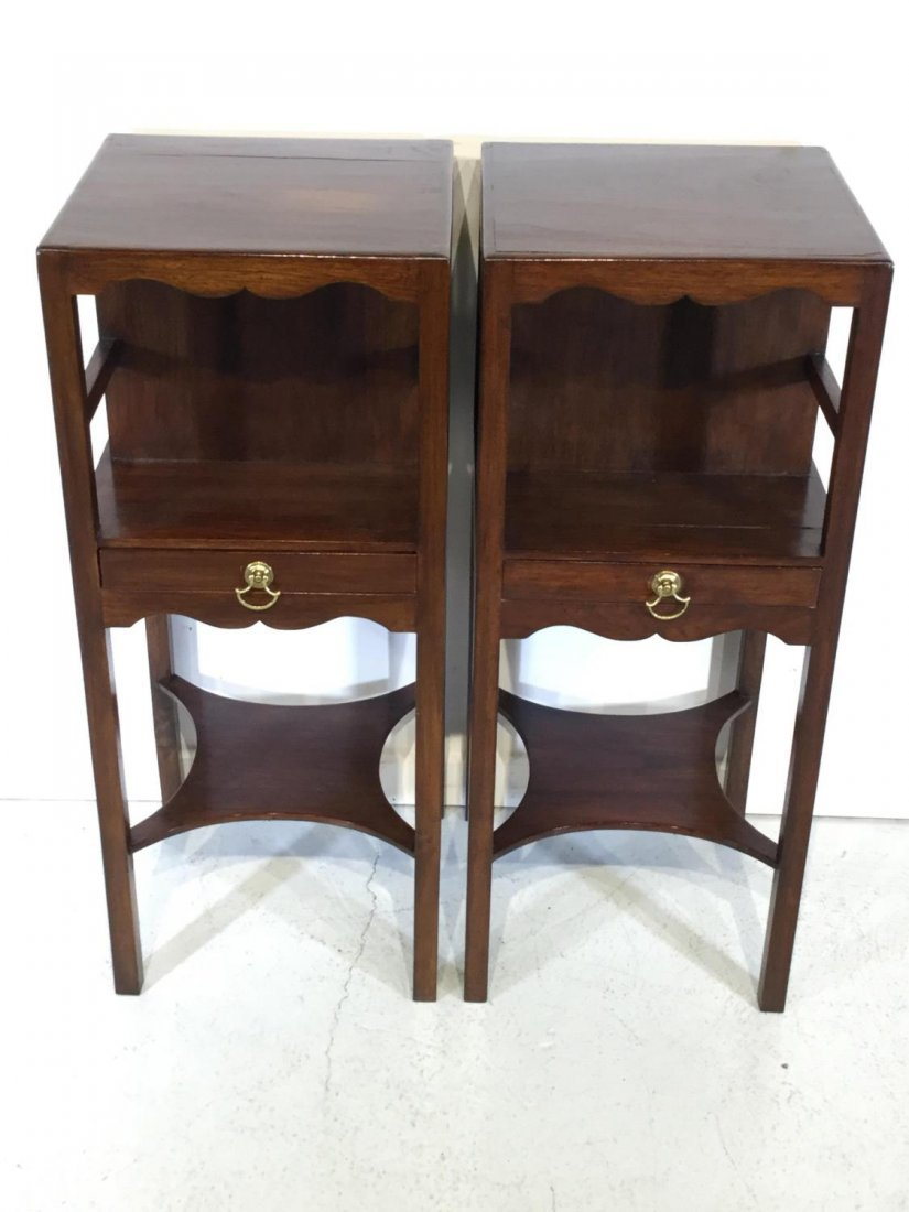 Pair George III style mahogany bedside tables