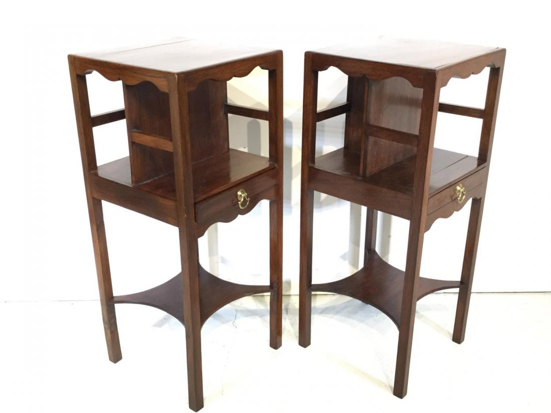 Pair George III style mahogany bedside tables - 2