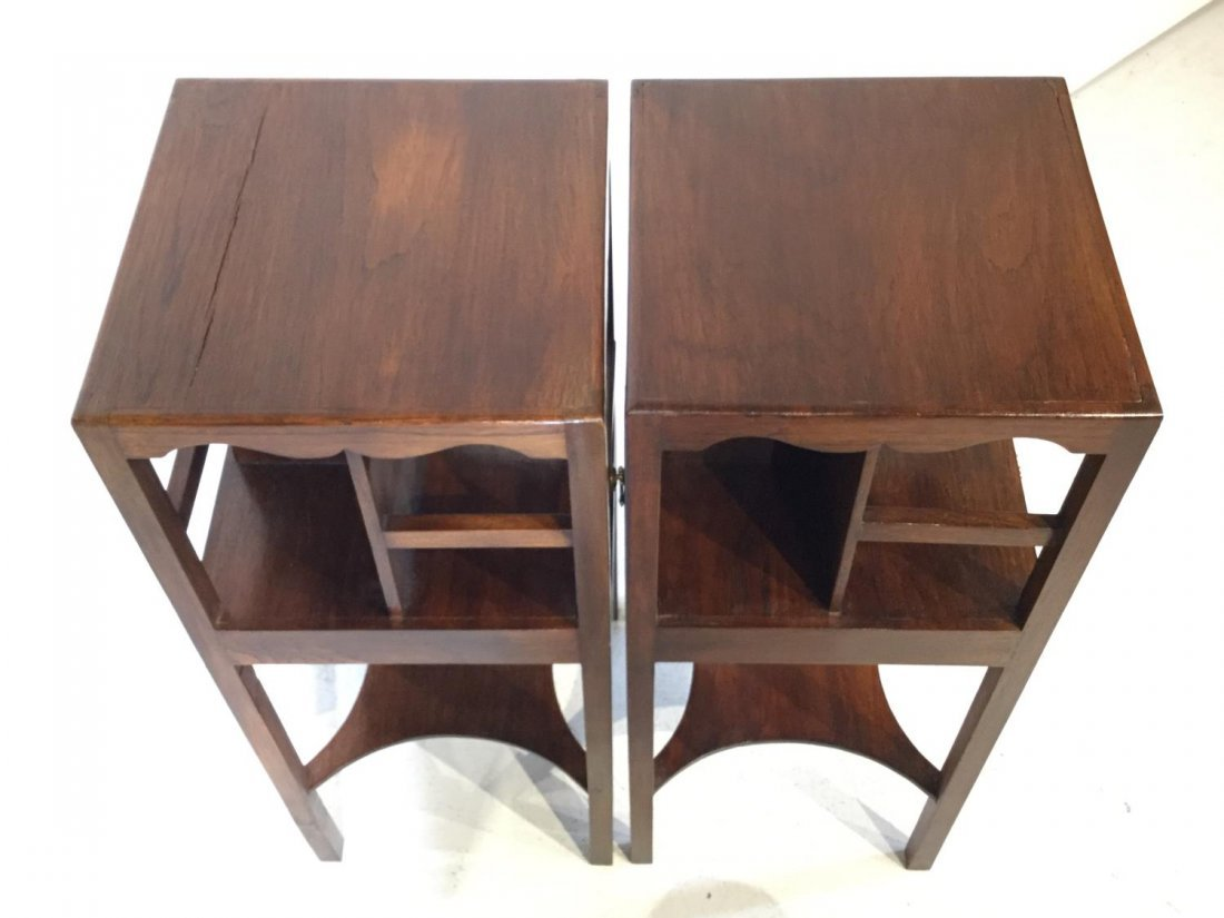 Pair George III style mahogany bedside tables - 4