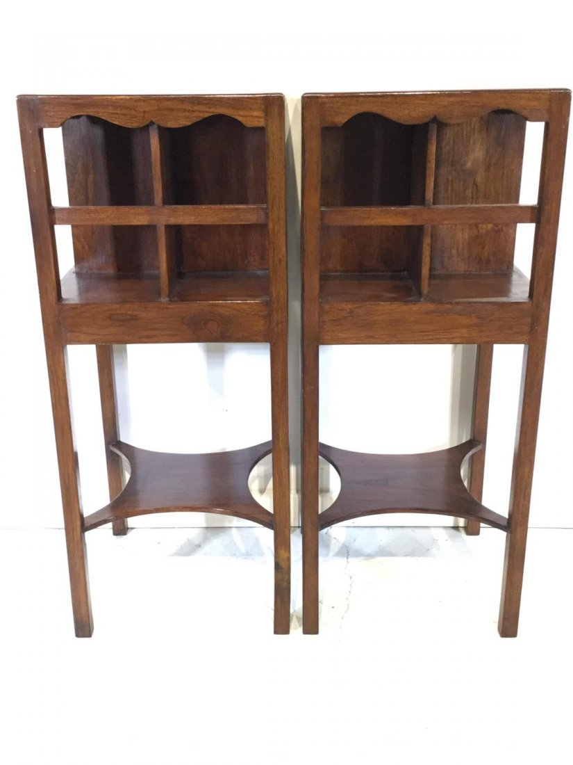 Pair George III style mahogany bedside tables - 5
