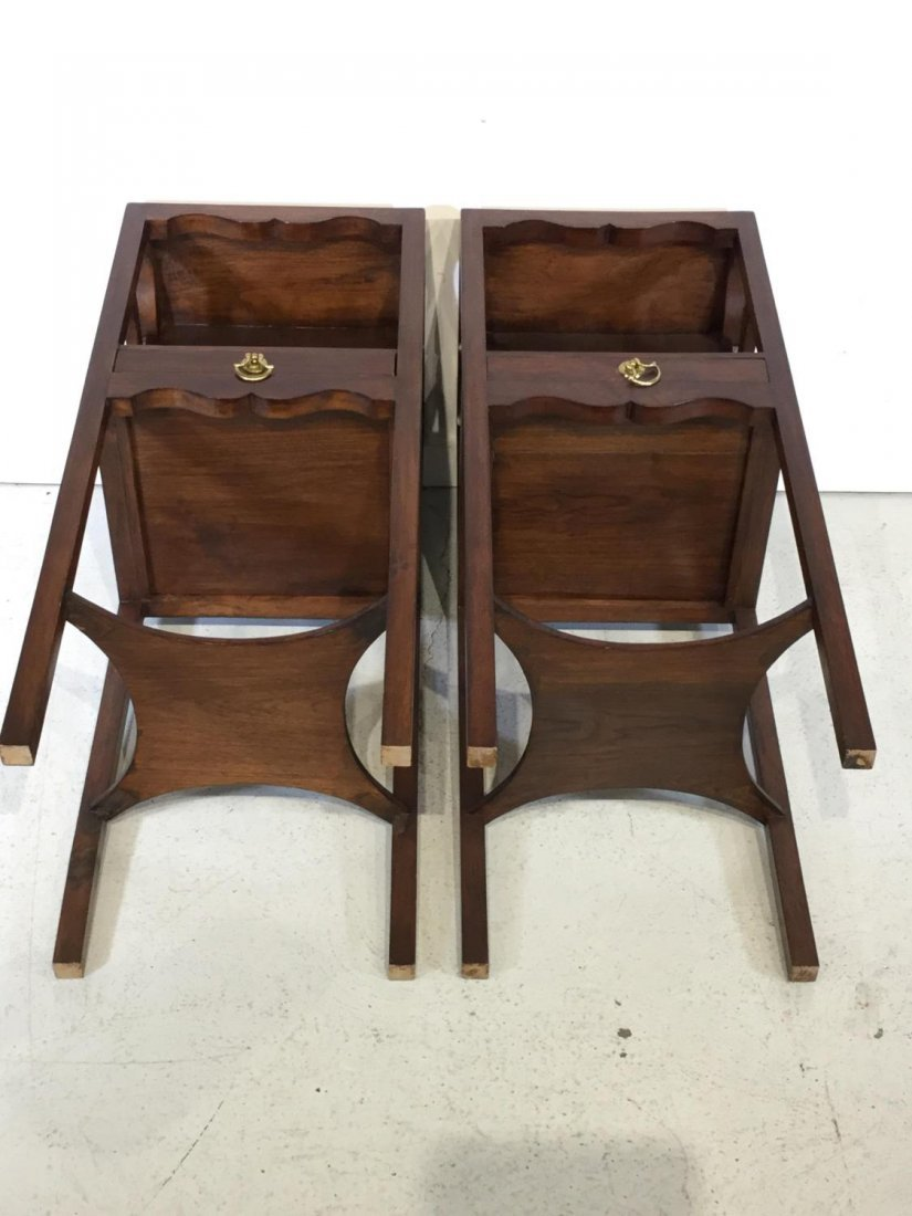 Pair George III style mahogany bedside tables - 8