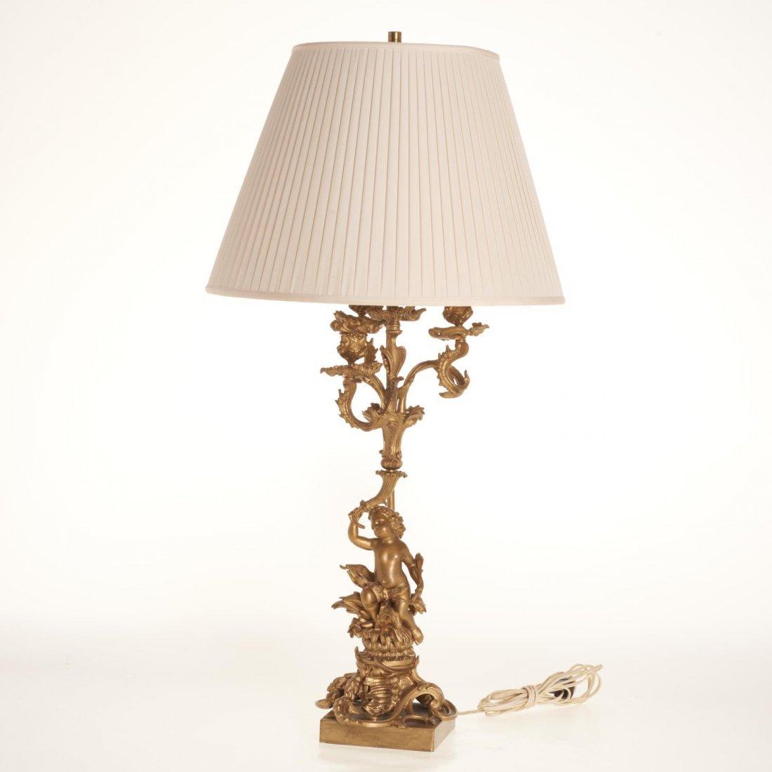 Napoleon III gilt bronze candelabra lamp
