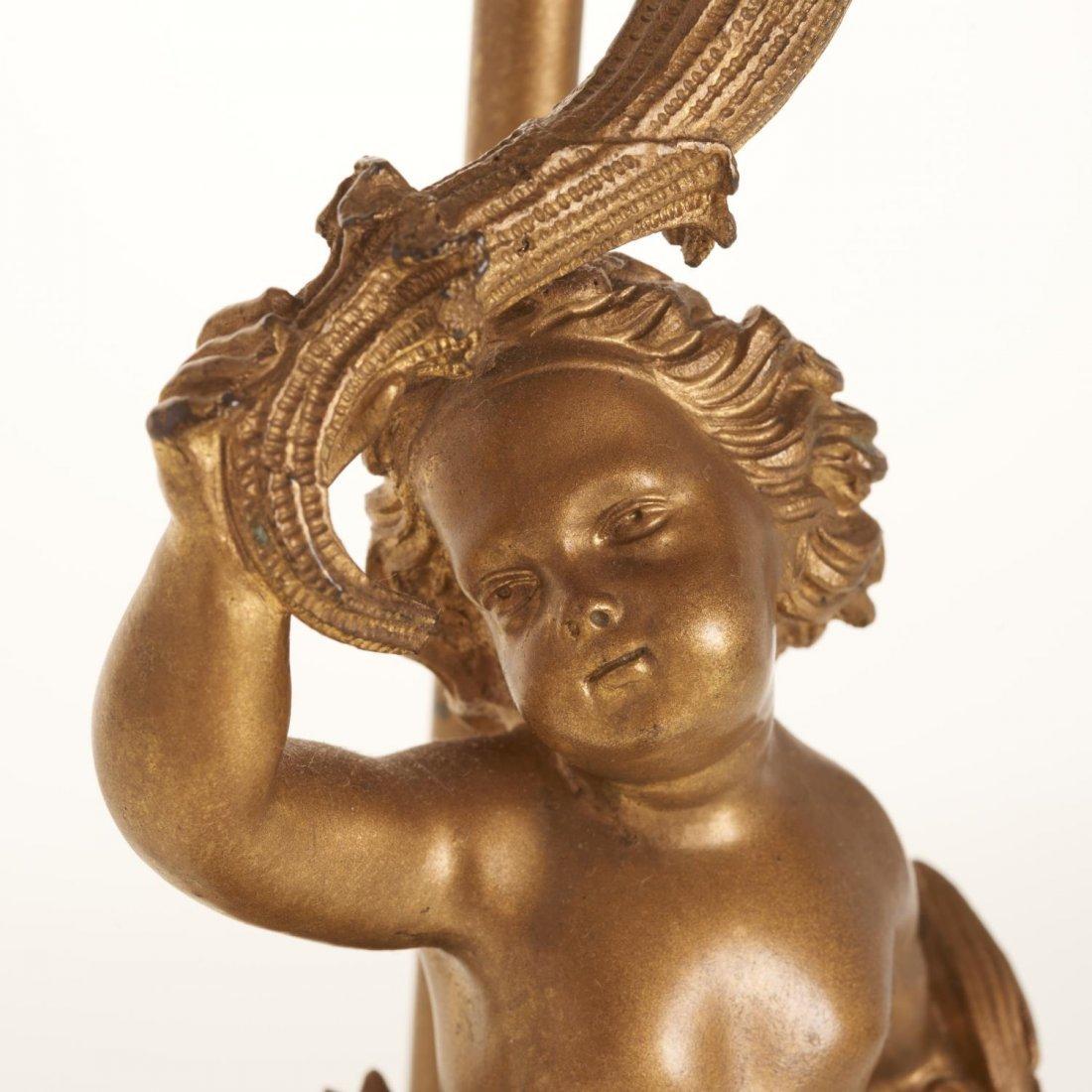 Napoleon III gilt bronze candelabra lamp - 3