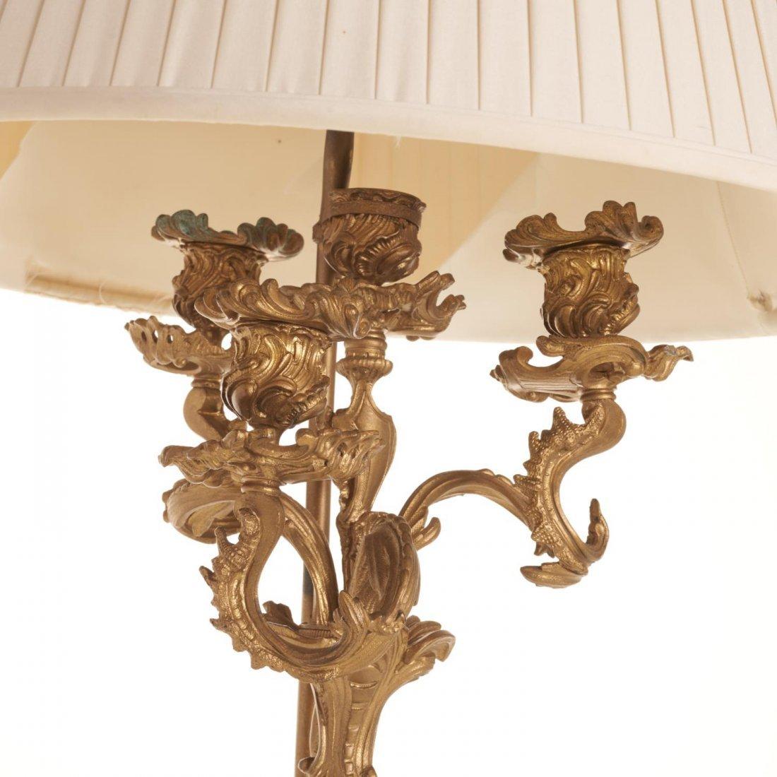 Napoleon III gilt bronze candelabra lamp - 4