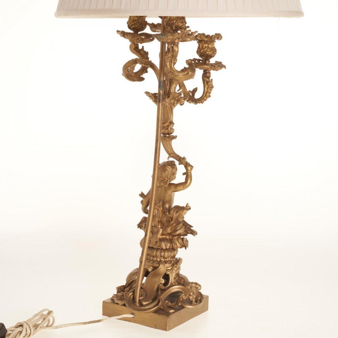 Napoleon III gilt bronze candelabra lamp - 5