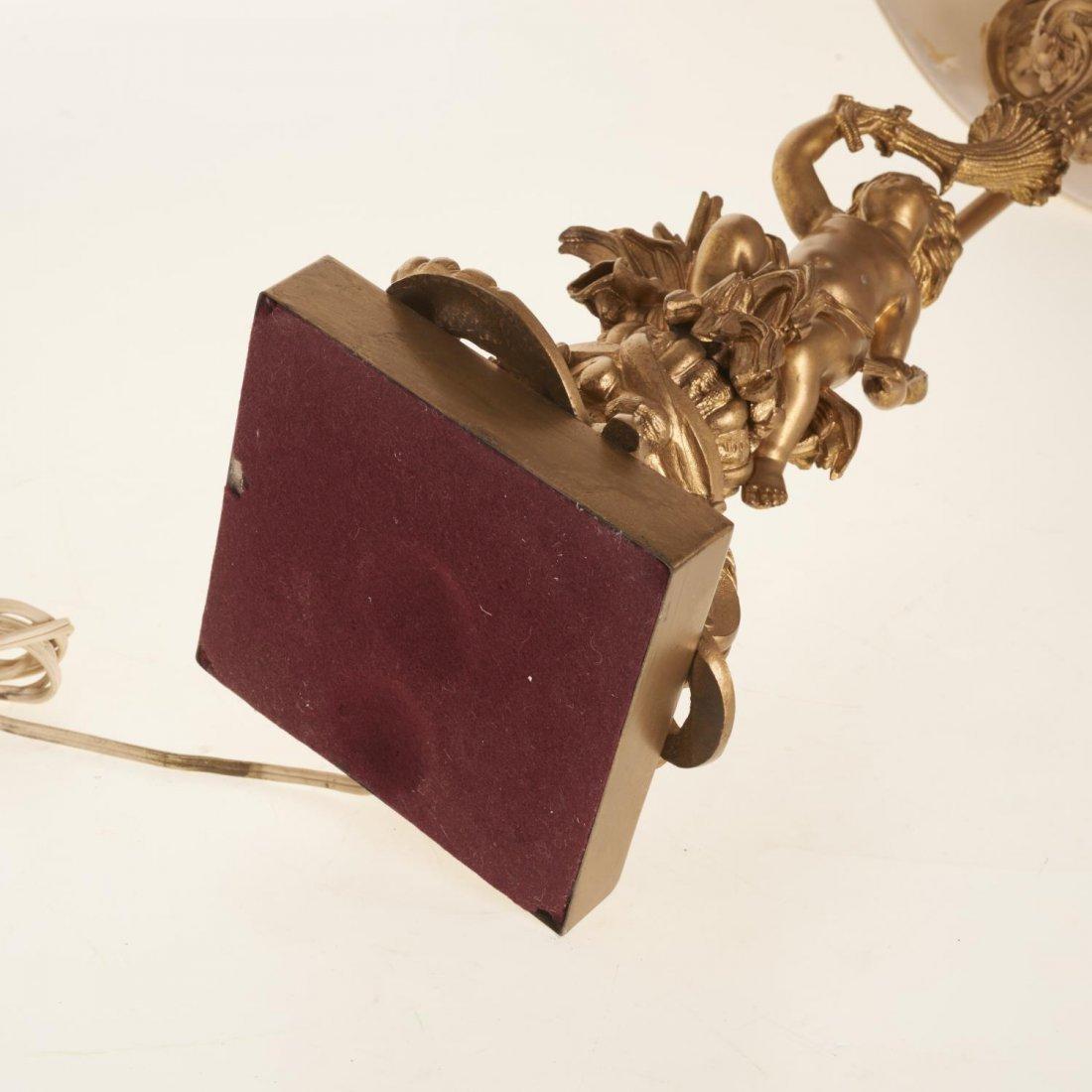 Napoleon III gilt bronze candelabra lamp - 7