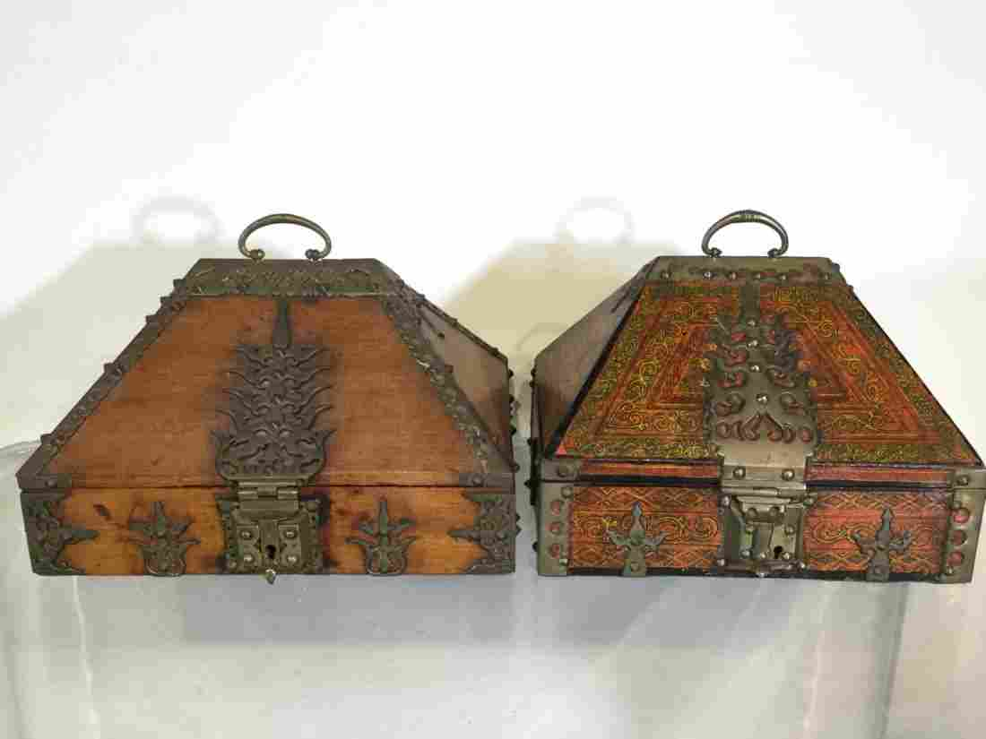(2) South Indian brass mounted jewelry boxes